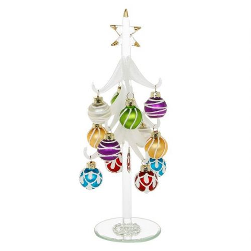 Large Frosted Glass Christmas Tree with Multi Coloured Baubles